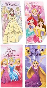 Girls Official Disney Princesses Ariel Belle Bath Swim Beach Towel 70 x 140 cm
