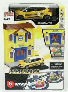 ACCESSORIES DIORAMA SET CITY POST OFFICE WITH RENAULT CAPTUR 2013 SCALA 1/43