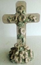 Poured Resin Easter Cross featuring Pink Flowers and Vines, Table or Garden Art