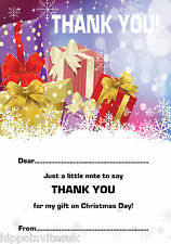 Christmas Thank You Notes x 20 A5 with envelopes - Presents in Snow H1225