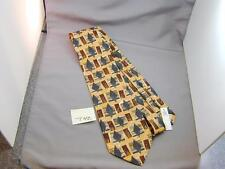 Fumagalli's Italy Silk Tie Abstract Yellow Brown White Gray NWT T42