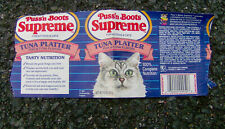 RARE vintage 1980s PUSS'N BOOTS Supreme cat food can label Quaker Oats kitty