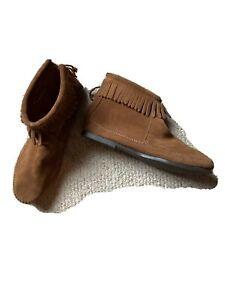 Minnetonka Brown Fringe Moccasin Boots 7 New