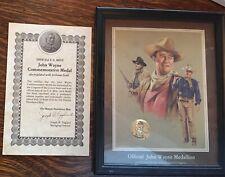John Wayne Commemorative Medal Electroplated In 24 Karat Gold With Coa - Pics!