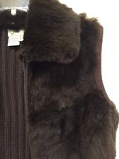June Rabbit Fur & Knit Full Zip Vest Womens Size Large