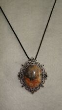 Birthstone Framed Crazy Lace Agate Pendant With Leather Necklace Gemstone J391