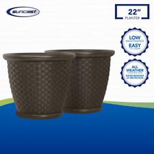 22 In. Large Planter Pot Garden Flower Round Brown Wicker Resin Durable 2 Pk New