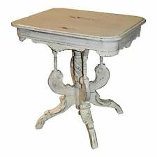 Antique Victorian Style Carved Distressed Accent Table