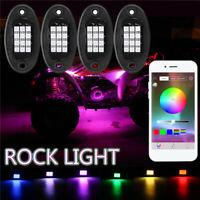 4pcs RGB LED Rock Light Wireless bluetooth APP Control Lamp Offroad Truck