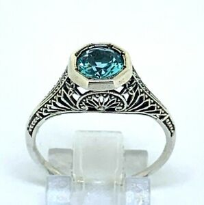 Ring Aquamarin synth.  925er Silber   # 57
