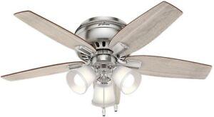 Hunter Ceiling Fan Flush Mount 42 Inch Blade Reversible Indoor Brushed Nickel