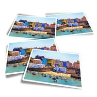 4x Rectangle Stickers - Tenby Harbour Wales UK Travel Boats  #24293
