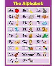 A3 Learn The Alphabet - Purple Childrens A3 Wall Chart Educational Childs Poster