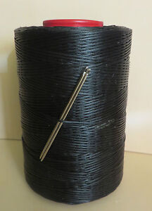 RITZA TIGRE WAXED HAND SEWING THREAD 0.8mm FOR LEATHER+  2 NEEDLES  BLACK JK23