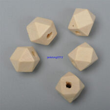 20pcs 15mm Wooden Geometric Wood Beads  Natural Unpainted Unfinished Polygon