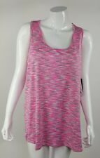 RBX Womens Plus Size 1X Pink White Gray Striped Racerback Athletic Tank Top NWT
