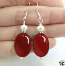 charming Natural Red ruby jade White shell pearl Silver hook Earrings