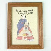 Vintage 90s Framed Print Americana Folk Art Country Couple Married Happiness