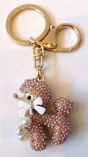 Rhinestone Bling Cute Key Chain Fob Phone Purse Charm Poodle Puppy Dog