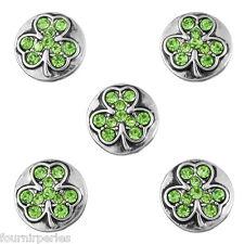 5 Mini Bouton Pression Strass Vert Trèfle à 4 feuilles Pr Collier DIY 13mm