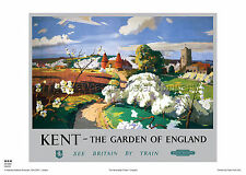 KENT HOLIDAY RETRO VINTAGE RAILWAY TRAVEL POSTER ADVERTISING GARDEN OF ENGLAND
