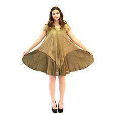 Vtg 60s metallic Lurex Gold draped pleat babydoll cocktail party mini dress