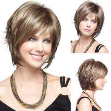 USA Women Wig Bob Hair Style Full Natural Short Straight Ash Blonde Hair Wigs