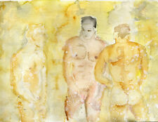 watercolor NUDE Male painting 3 men in a shower #ArtofEsteban  1/9/50 FREE SHIP