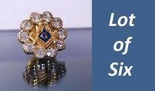 LOT 6 High Quality Masonic Square & Compass Rhinestones Freemason Lapel Pin hat