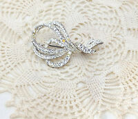 Vintage Love Knot Clear Rhinestone Brooch/Pin c. Mid Century