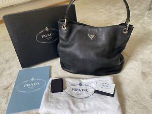 PRADA Black Vitello Daino Leather Hobo Bag BR3980 Milano Caviar Leather RRP£2200