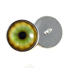 Tiger Sew On Glass Eyes 16mm Button Loops for Soft Fabric and Crochet Dolls