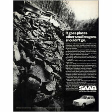 1968 Saab: Goes Places Other Small Wagons Shouldnt Go Vintage Print Ad