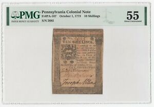 Pennsylvania Colonial Note Fr# PA-167 October 1, 1773 10s 10 Shillings PMG 55