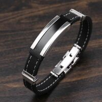 Men's Silver Stainless Steel Black Rubber Cool Bangle Bracelet Cuff Wristband