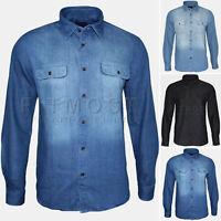 Mens Denim Soft Cotton Shirt Western Style Denim Big Sizes Vintage Wash Shirts