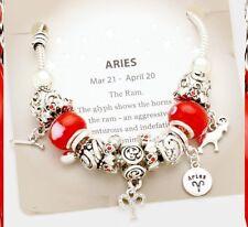 Aries Bracelet Charm Multi Beaded Zodiac European Bead Murano Glass Rope Chain
