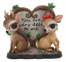 """Lovely Deer Couple by Heart Shaped Plaque Deer Home Decorative Statue 7""""L"""