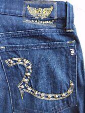 Rock & Republic Henlee Boot Cut Studded Logo Dark Wash Jeans Mens Size 33