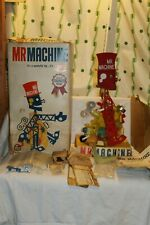 Vintage 1960's Ideal Toys Mr Machine Metal Key Wind-Up Robot In Box W Wrench