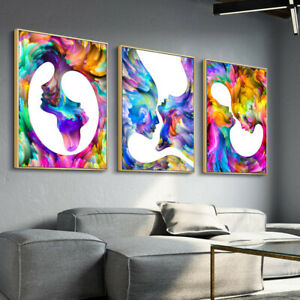Kiss Trippy Abstract Canvas Poster Wall Art Print Nordic Decoration Picture