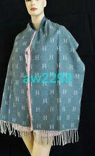 HERMES CASHMERE BLEND H STOLE SHAWL SCARF HARD TO FIND NEW