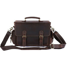 Vintage Genuine Leather DSLR Camera Bag Insert Lens Case Shoulder Messenger Bag