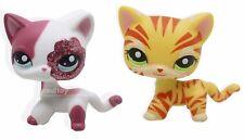 2pcs #1451 #2291 Littlest Pet Shop Pink & Yellow Sparkle Glitter Short Hair Cat
