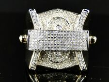 Mens Yellow Gold Finish 26 Mm White Diamond Fashion Designer Pinky Ring 1.35 Ct