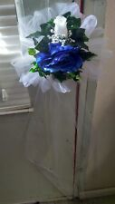 14 Wedding Pew chair Bows White & Royal blue Extra Streamers Rush orders Avail