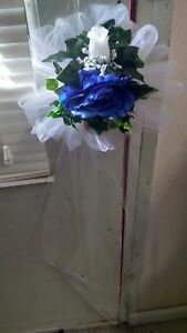 6 PC Pew Bows Royal Blue And White  With Extra Streamers rush Available Sale