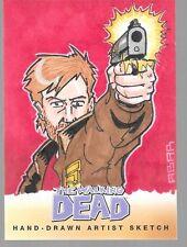 Walking Dead Comic Book series 2 orginial color art sketch card Jeffrey Abar