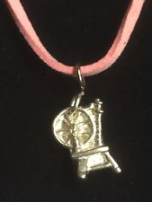 """Spinning Wheel TG306A Fine English Pewter On a 18"""" Pink Cord Necklace"""