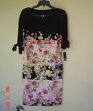 NWT JULIAN TAYLOR BLACK FLORAL CAREER SHIFT DRESS SIZE 24 W WOMEN $89